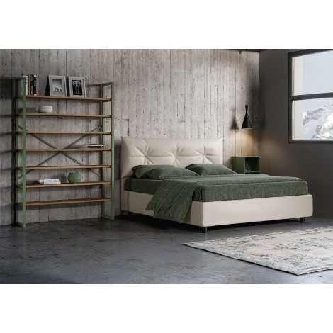 Azzurra double bed with or without container covered with imitation leather available in two finishes
