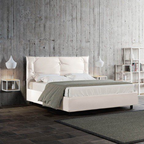 Alberta double bed with wooden frame and covered with imitation leather in the version with or without storage. Network included