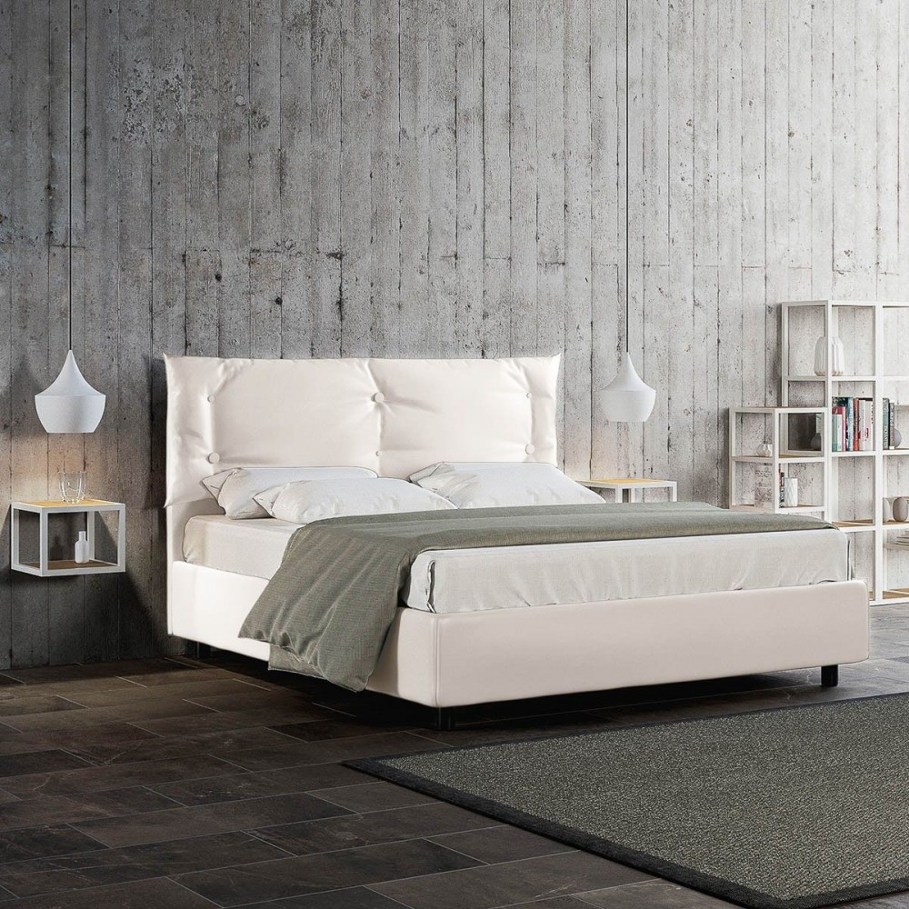 Double Bed Alberta with Wooden Frame and Covered in Eco-Leather in ...