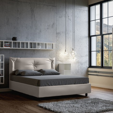 Agnese double bed in wood covered with imitation leather with mesh included and container structure or without