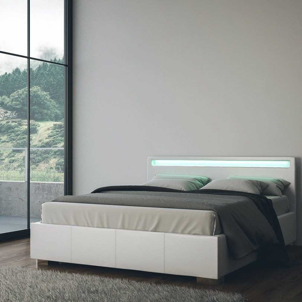 huge selection of 23d0b e1ae1 Double Bed York with Storage Base with Led Lights in the Headboard Which  Change Colour and Covered in Eco-Leather