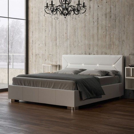 Natalie double bed with slatted bed base and led lights in the headboard with container structure