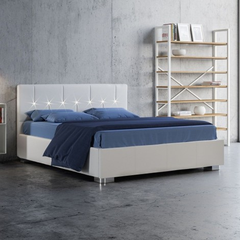 Charlotte double bed with container structure and led lights in the headboard. Slatted base included