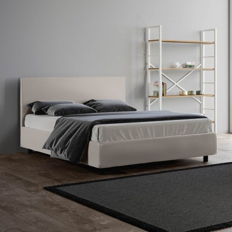 Adele double bed without container with slatted base included covered with imitation leather available in two colors