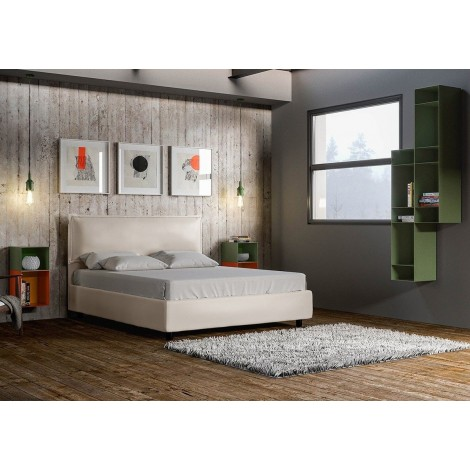 Alice double bed with container or without covered in removable imitation leather. Available in two colors