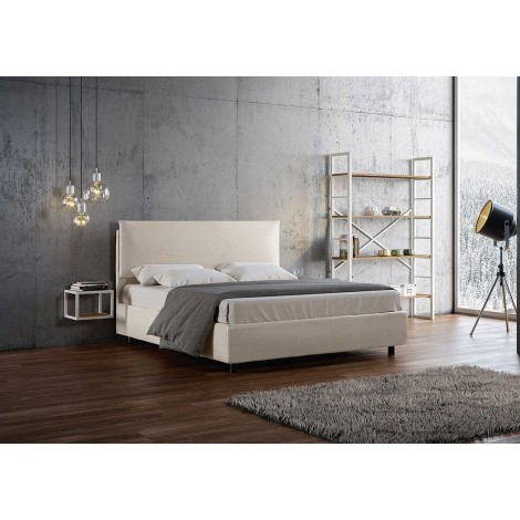 Ambra double bed with container or without upholstered in imitation leather completely removable in two colors