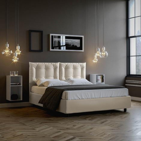 Annalisa double bed with container or without upholstered in imitation leather completely removable in two colors