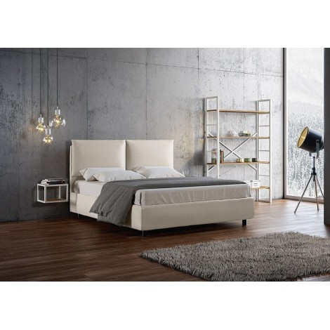 Antea double bed with container structure or without and net included. Cover in imitation leather with completely removable cove
