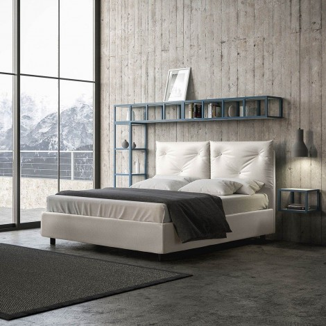 Appia double bed covered in completely removable imitation leather with container structure or without