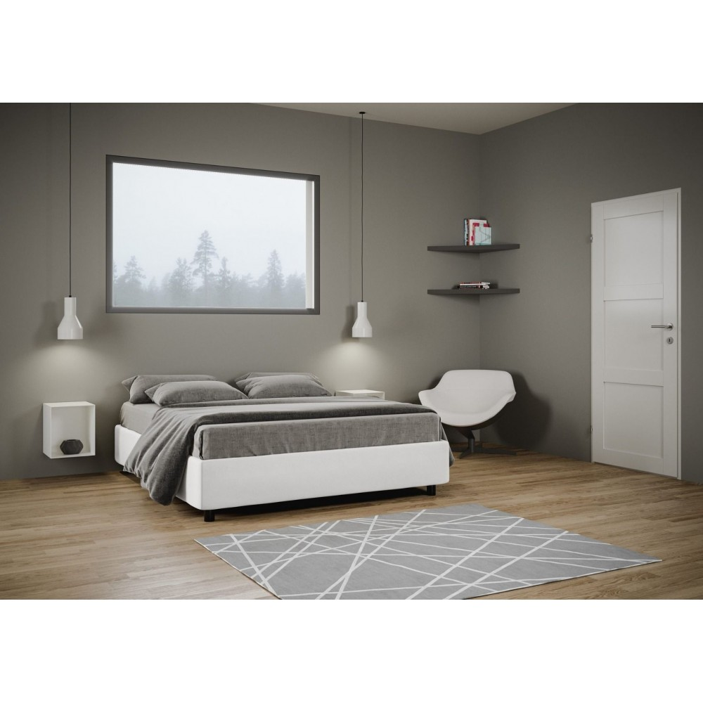 Sommier Double Bed Azelia Covered in Eco-Leather Removable with ...