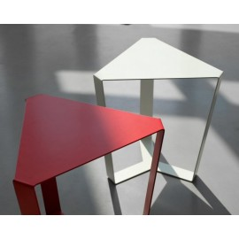 Finity living room table in powder coated metal in red, white and black colors available in two sizes