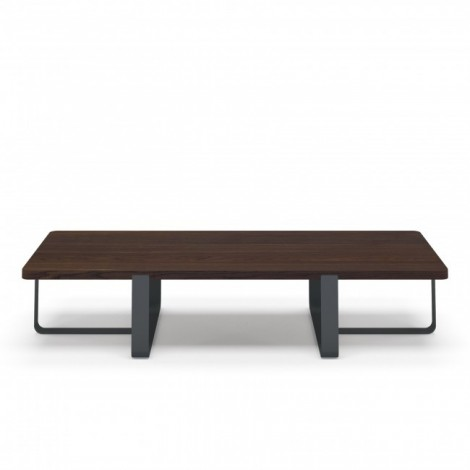 Inn Doppio living room table with painted iron structure in various finishes and smoked oak veneered wood top