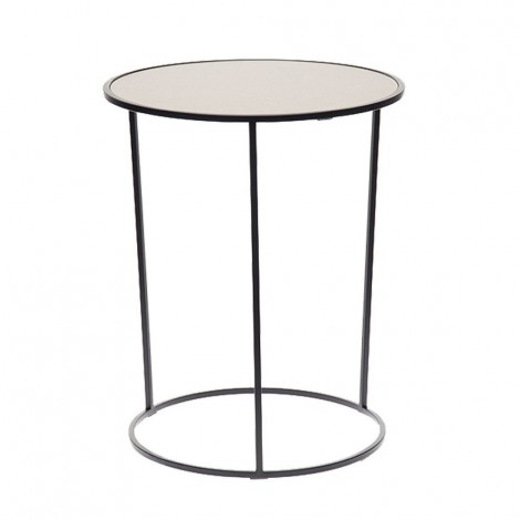 Costance metal living room table with wooden top covered in leather or marble