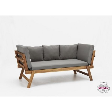 Valencia outdoor sofa in wood with cushions covered in teassuto and extendable