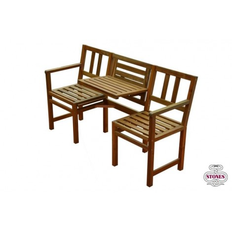 Double outdoor bench with adjustable and liftable support to hold drinks or magazines