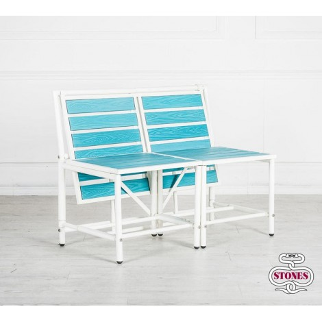Magica outdoor bench in painted metal and central table integrated in the structure