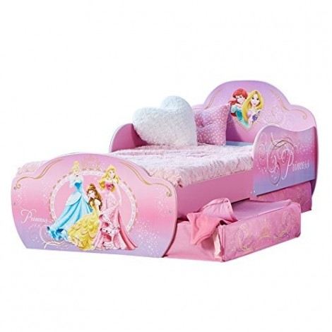 Disney Princesses Kid Bed with closable drawers in fabric and built-in bedside table