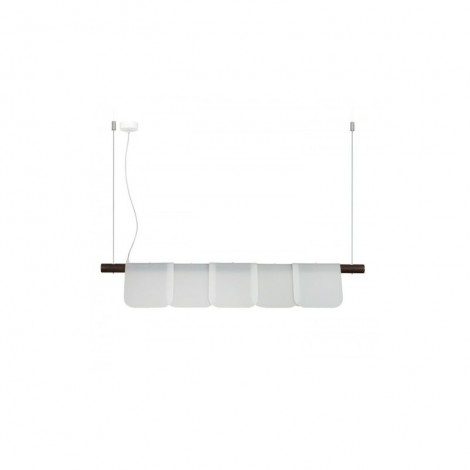 Arfò suspension lamp with ash or walnut color structure and satin methacrylate diffusers