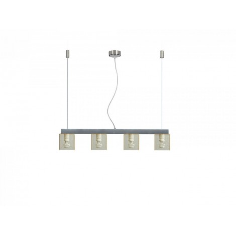Didodado suspension lamp with four lights with stainless steel structure and Pmma diffusers in multiple colors