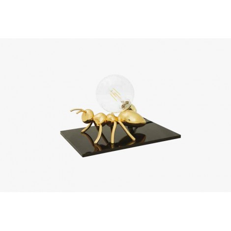 Antlante table lamp with black methacrylic base and resin formicain in the colors silver, gold and copper