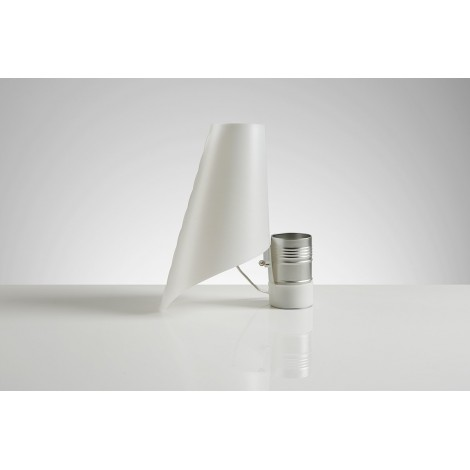 Nevea table lamp in sandylex with pearl colored methacrylate support and silver tin plated container