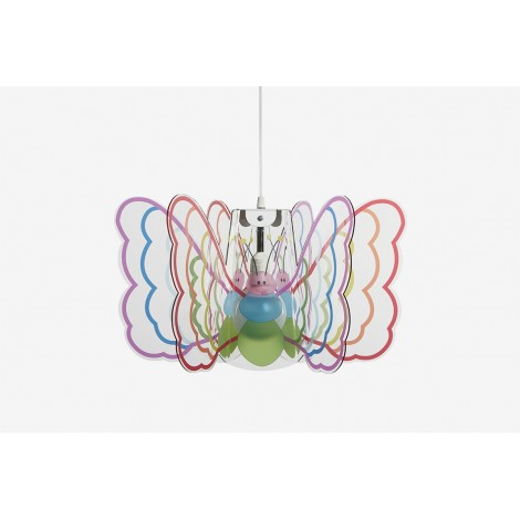 Butterfly suspension lamp in methacrylate and painted metal structure with E 27 lamp base