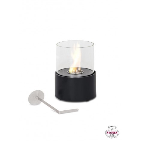 Duecilindri table lantern in matt black metal and tempered glass. Flame control tool.