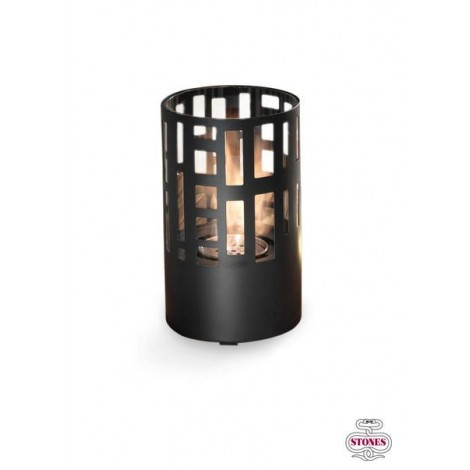 Harbor table lantern in matt black metal and tempered glass. Burner with flame control tool