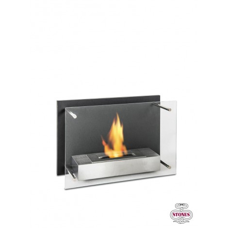 L'ASTRA wall fireplace in black painted metal and satin steel with tempered glass