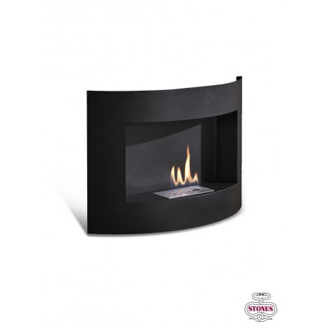 Redonda bioatanolo wall fireplace in matt black painted metal with double layer burner of 0.5 lt
