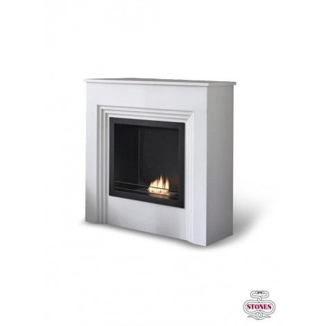Floor bioethanol fireplace with matt white varnished mdf wood and double layer burner 1.5 lt