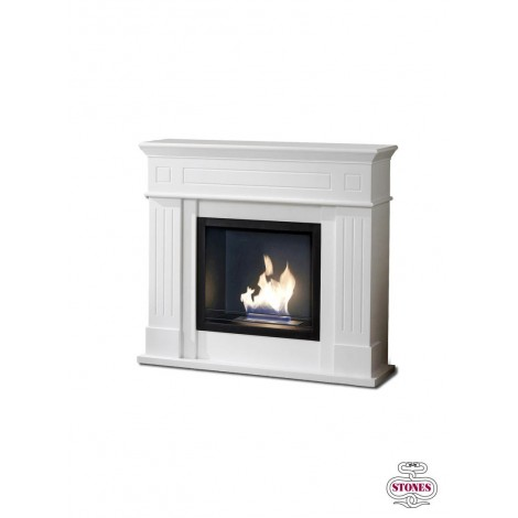 Nostalghia bioethanol fireplace with structure in matt white painted MDF. with 1.5 lt double layer burner
