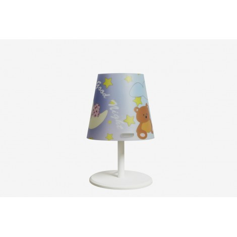 Kone table lamp with sandilex lampshade with teddy bear texture and forex base