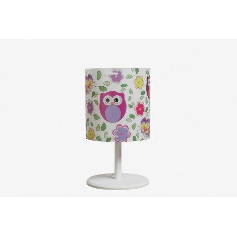 Cylinder table lamp with cute owls depicted on the lampshade and E 14 max 28 watt lamp