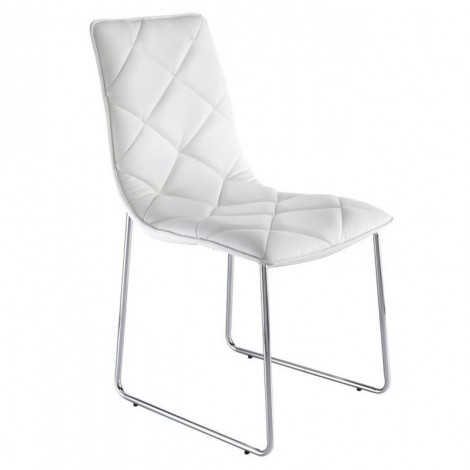 Soft chair by Tomasucci with chromed metal structure and shell covered in white or brown sentetic leather