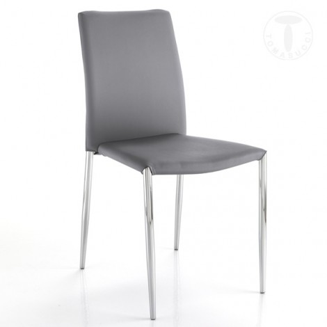 Well seat by Tomasucci with conical chromed metal structure and covered in synthetic leather in three colors of your choice