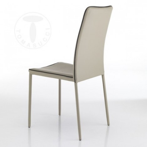 Kable stackable chair by Tomasucci in metal completely covered in synthetic leather available in two colors