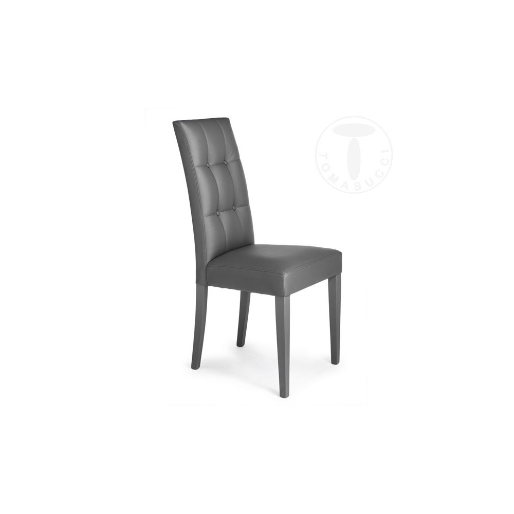 Chair Dada by Tomasucci in Wood and Covered in Eco-Leather Available in the  Colours White, Grey or Brown