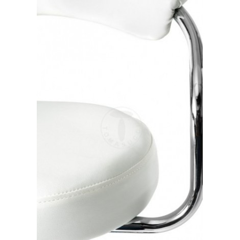 Crux stools by Tomasucci with chromed structure and synthetic leather covering available in two finishes