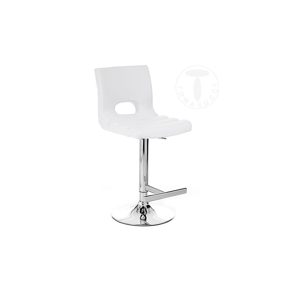 Sem stool by Tomasucci with gas piston, chromed metal structure and synthetic leather upholstery in two colors