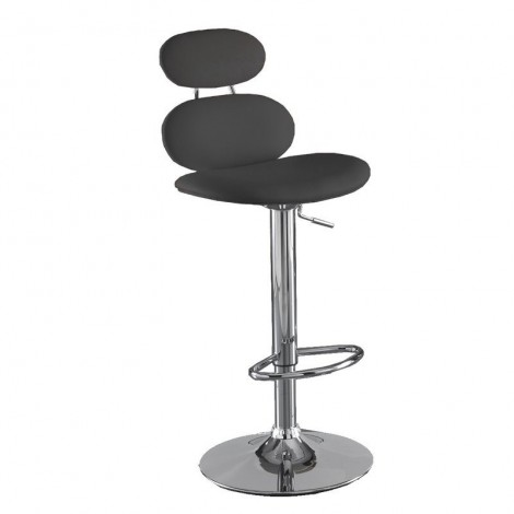 Cetus stool with chromed metal structure and synthetic leather covering available in two colors