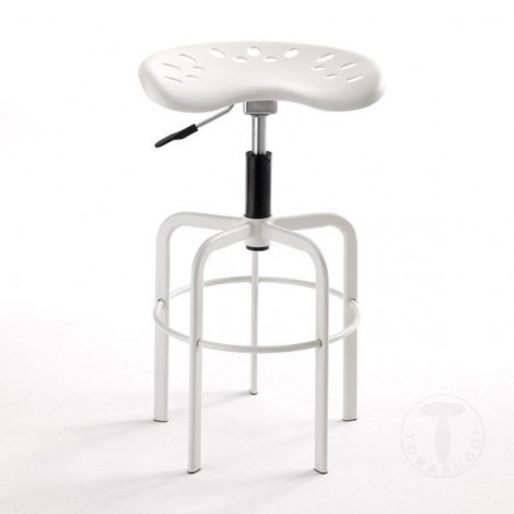 Wivi stool by Tomasucci with structure in matt white aluminum and gas lift mechanism