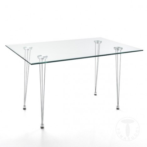 Table Matra by Tomasucci with Chrome Metal Frame and Tempered Glass Top