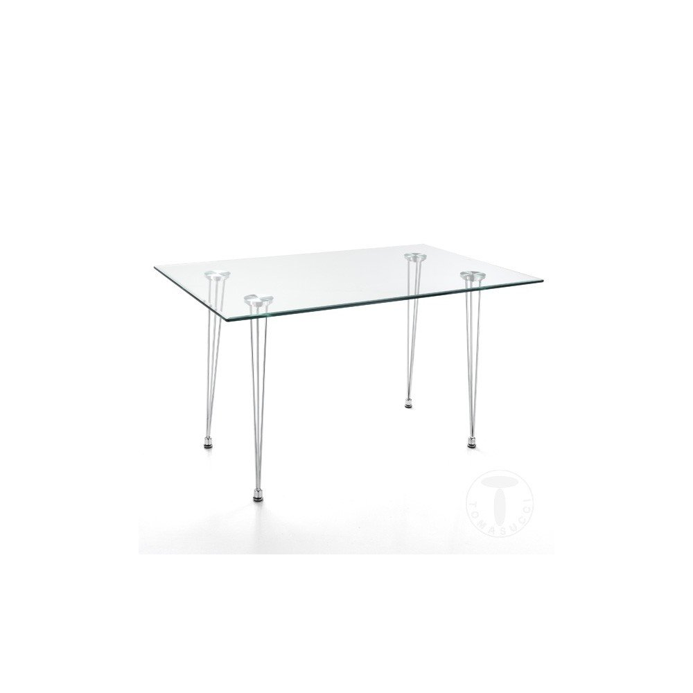 Matra fixed table by Tomasucci with chromed metal structure and tempered glass top