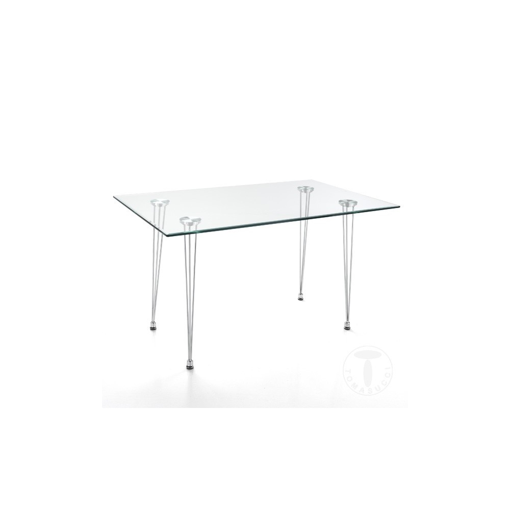Tavolo Cromato E Vetro.Table Matra By Tomasucci With Chrome Metal Frame And Tempered