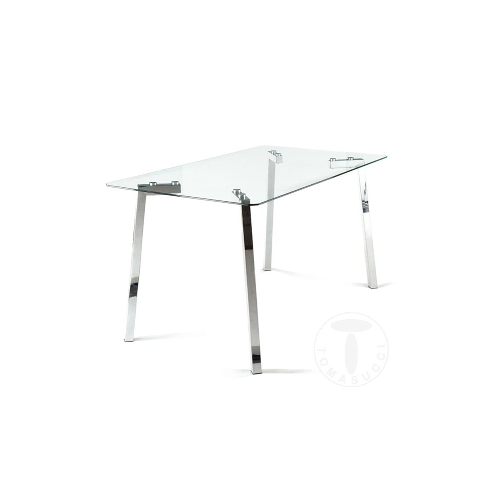 Tavolo Cromato E Vetro.Rectangular Table Kirk By Tomasucci With Chrome Metal Frame And