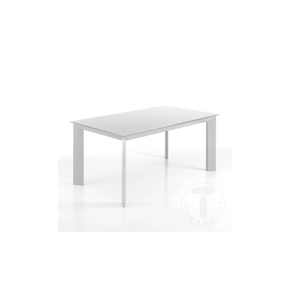 Tavoli Allungabili Vetro Temperato.Extensible Table Blade 160 Cm Metal Frame With Tempered Glass
