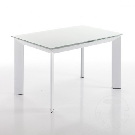 Tavolo Vetro Satinato Allungabile.Extensible Table Blade 160 Cm Metal Frame With Tempered Glass