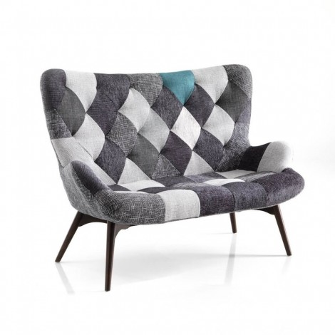 Kaleidos two-seater sofa by Tomasucci with wooden structure and upholstered in two different finishes