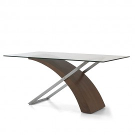 Level fixed table with wooden and metal